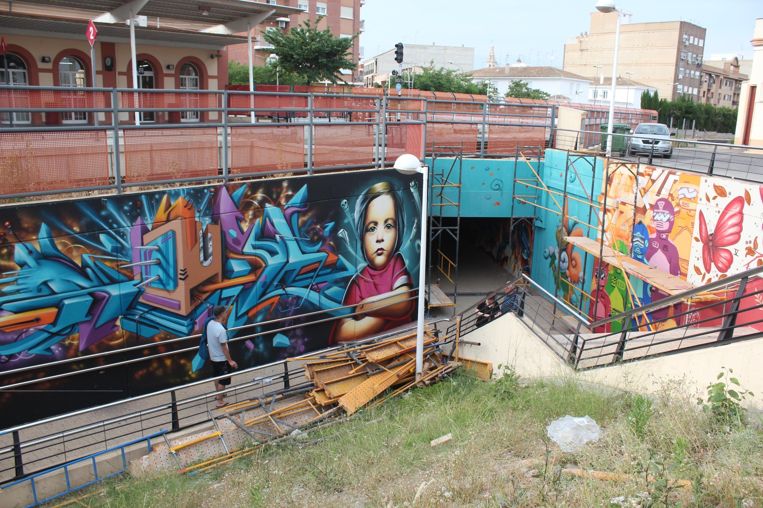 Uno de los graffitis realizados en Cheste. Foto: Javier Furió.