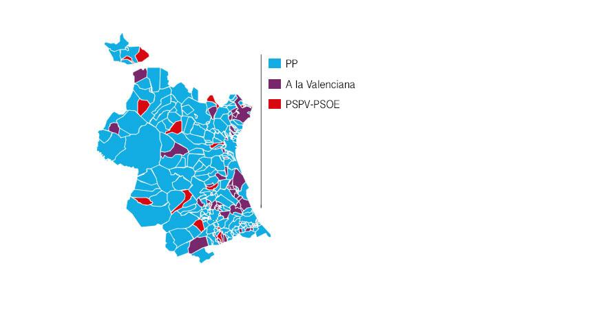 Mapa electoral de las elecciones Generales 2016 en la provincia de Valencia.