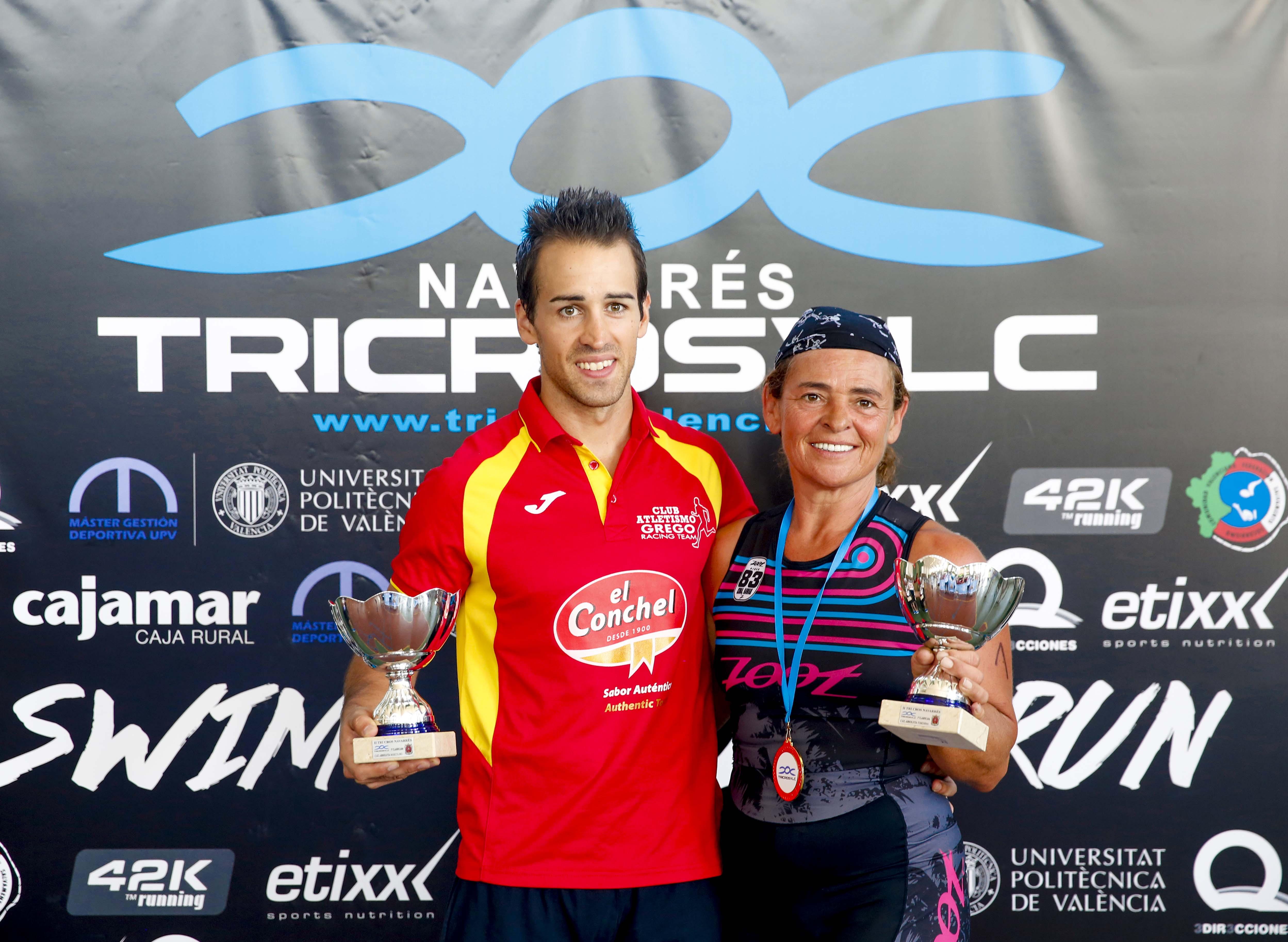 Ganadores en categoría masculina y femenina de la prueba de Navarrés.