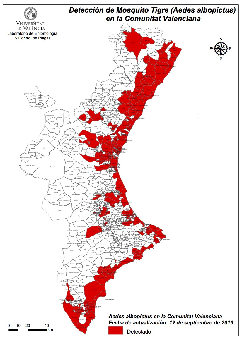 Mapa de la extensión del mosquito tigre en septiembre de 2016.