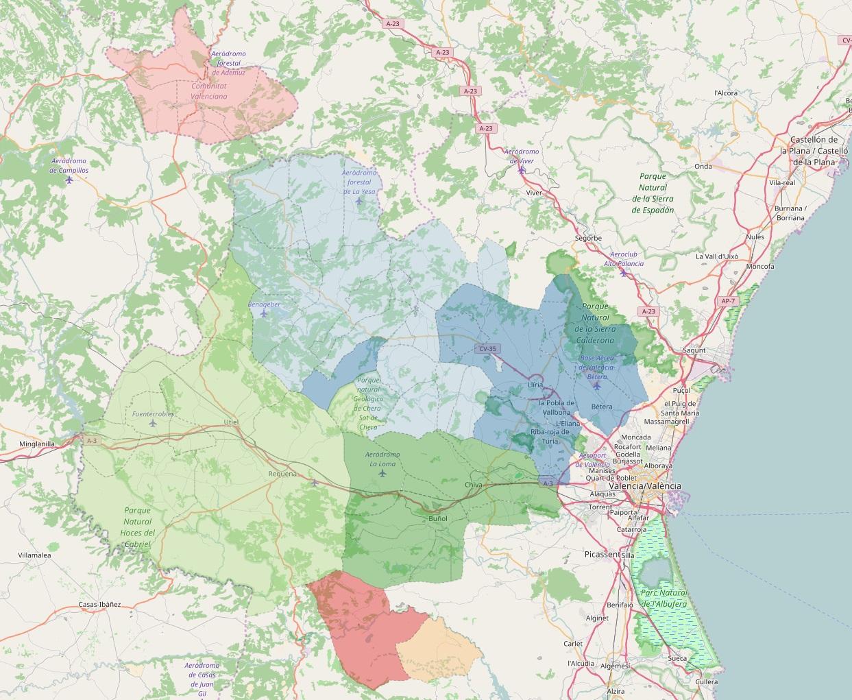 Mapa con el área geográfica de cobertura del Consorcio Valencia Interior.