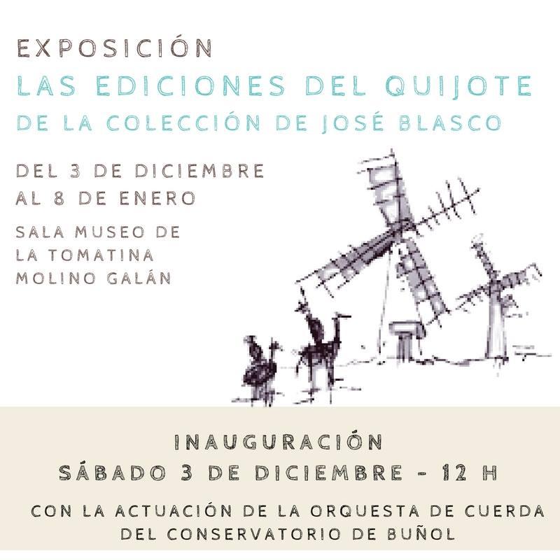 Cartel de la muestra del Quijote en Buñol.