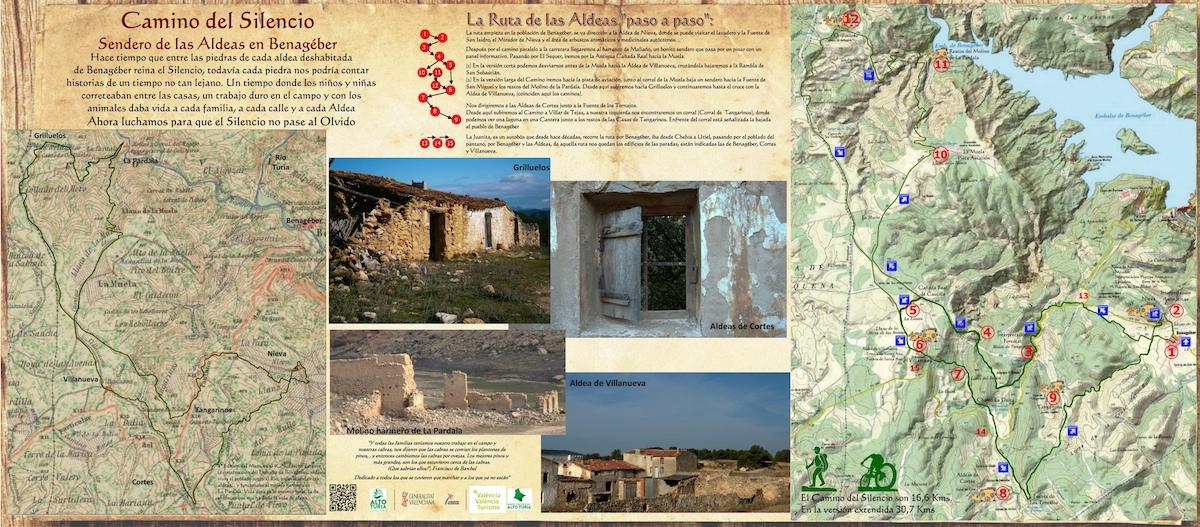 La senda recorre las aldeas abandonadas tras la construcción del pantano a mediados del siglo XX.
