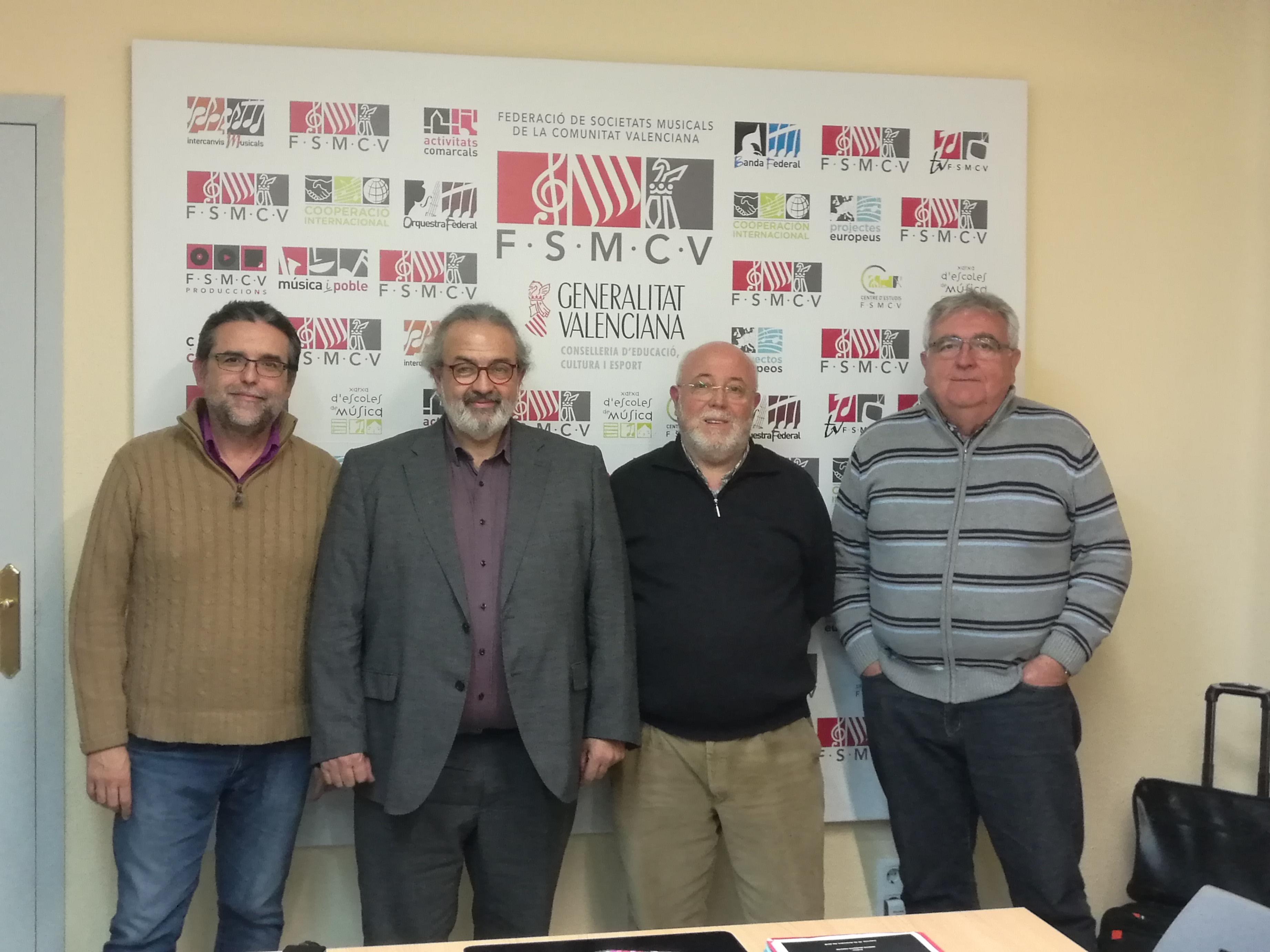 José Ramon Peinado, Presidente de la FFCV, Pedro Rodríguez, Presidente de la FSMCV, Juanjo Trilles, Presidente de la FVDIT y Manuel Pérez, Vicepresidente de FECOCOVA.