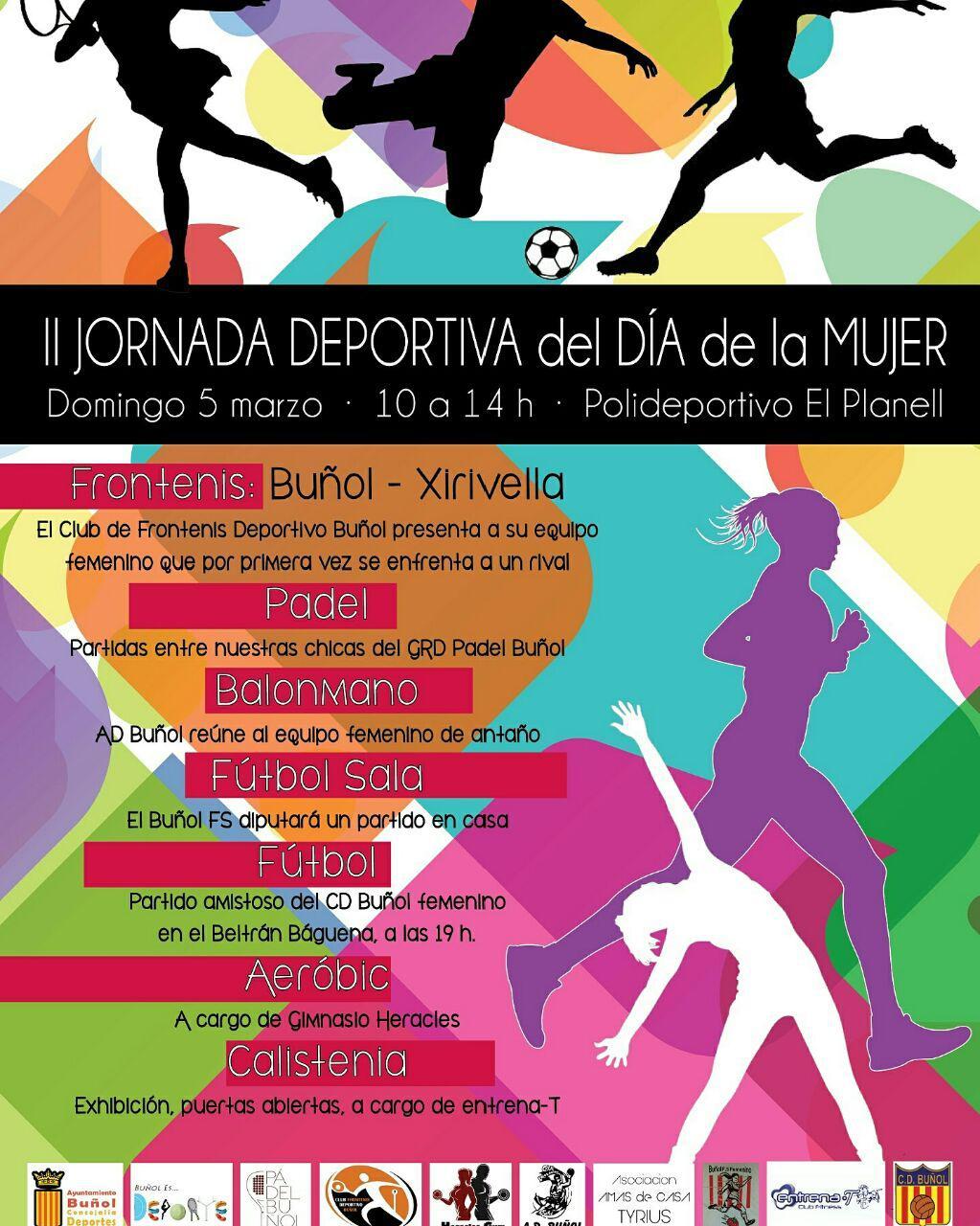 Cartel de la jornada deportiva prevista en Buñol.