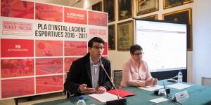 El presidente de la Diputación de Valencia, Jorge Rodríguez, y la diputada Isabel García durante la presentación.