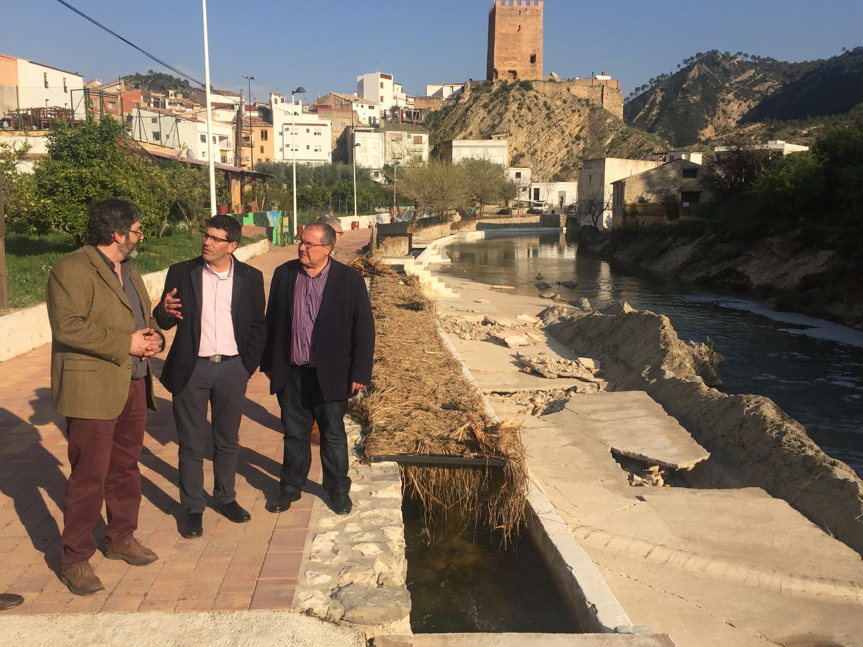 El presidente de la Diputación se ha interesado por los daños causados por los últimos temporales en la zona.