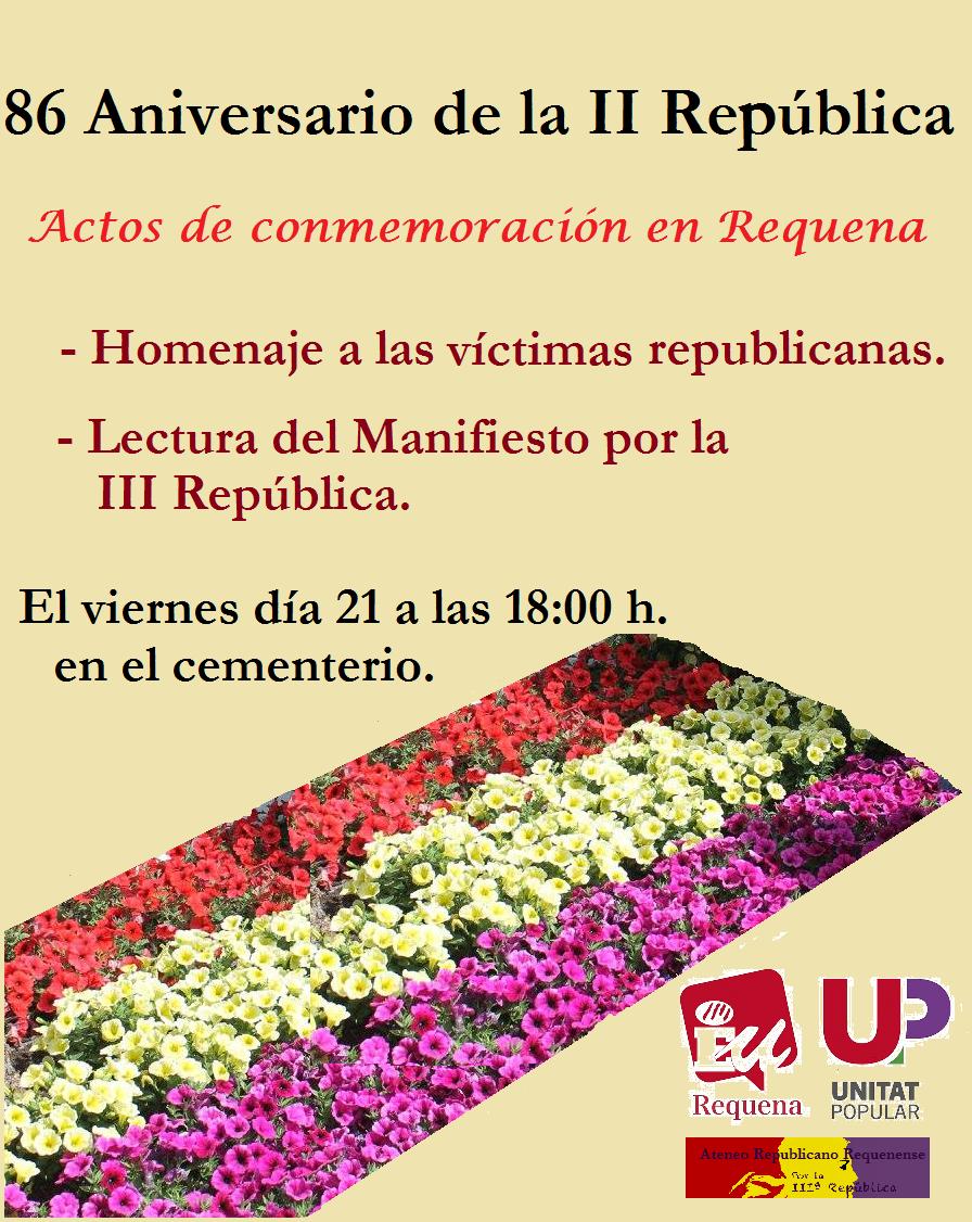 Cartel del aniversario organizado por EU de Requena.