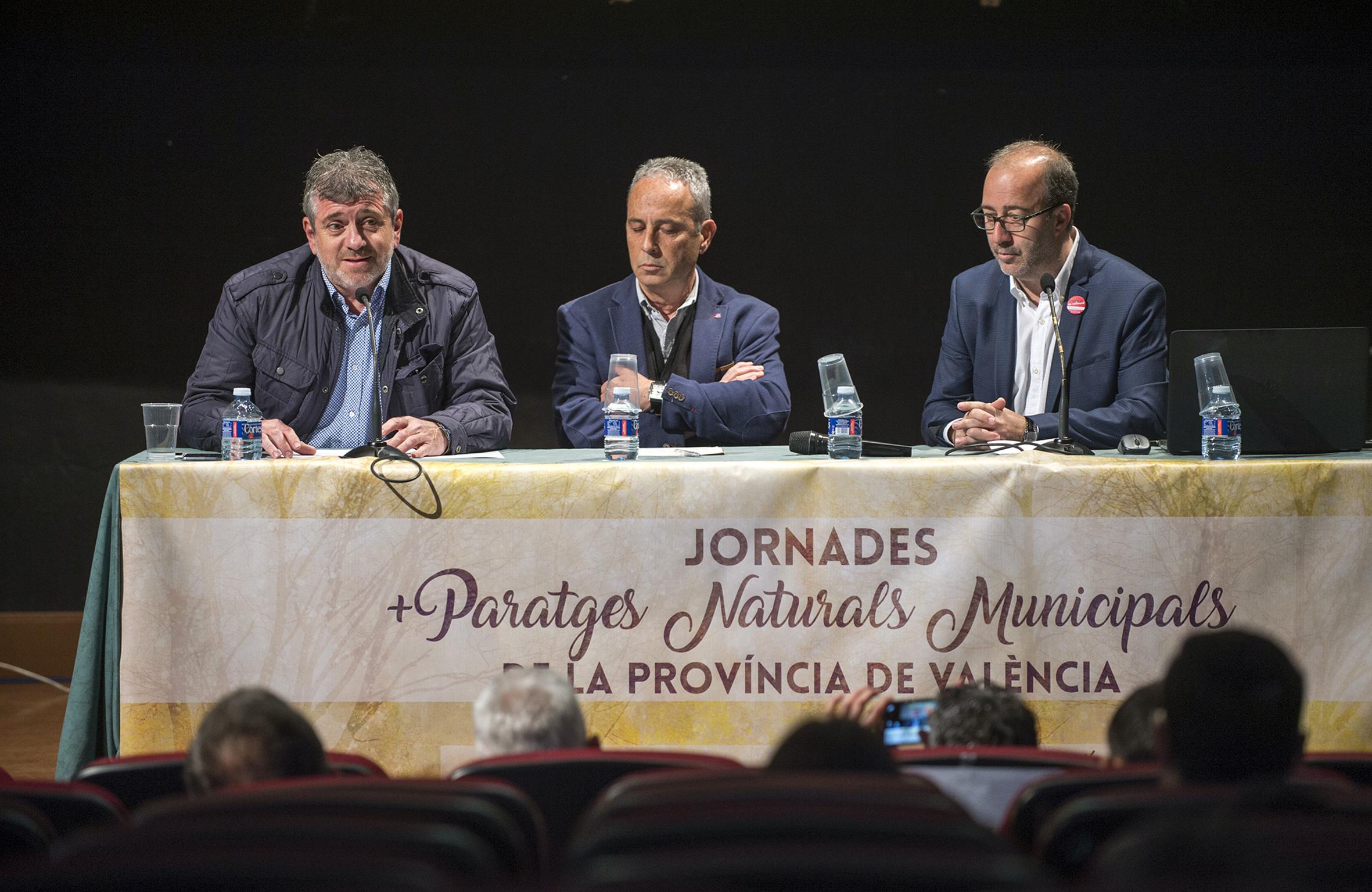 Josep Bort, Antoni Marzo y Diego Gómez en la I Jornada sobre Parajes Naturales Municipales.