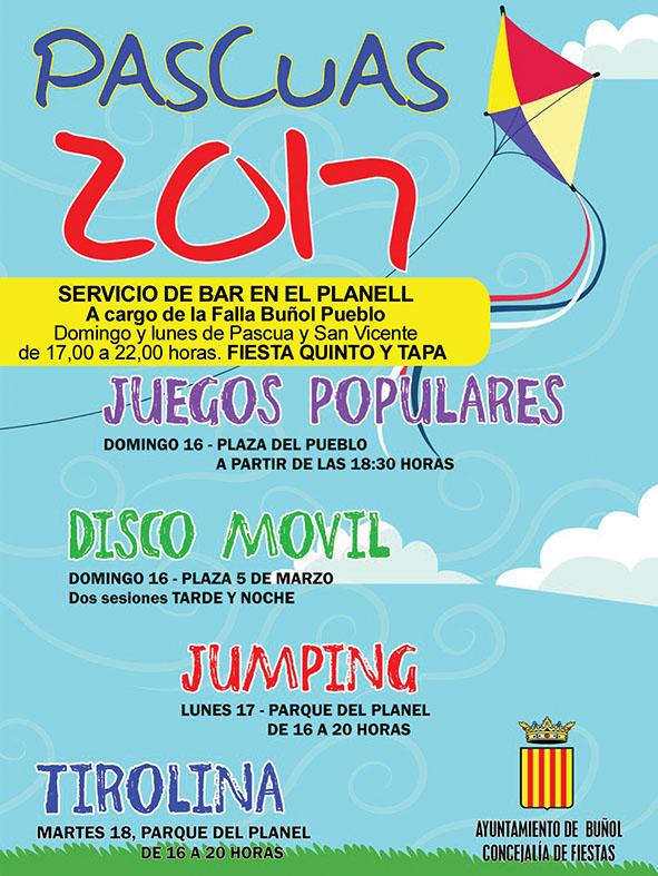 Cartel de las actividades de Pascua en Buñol.