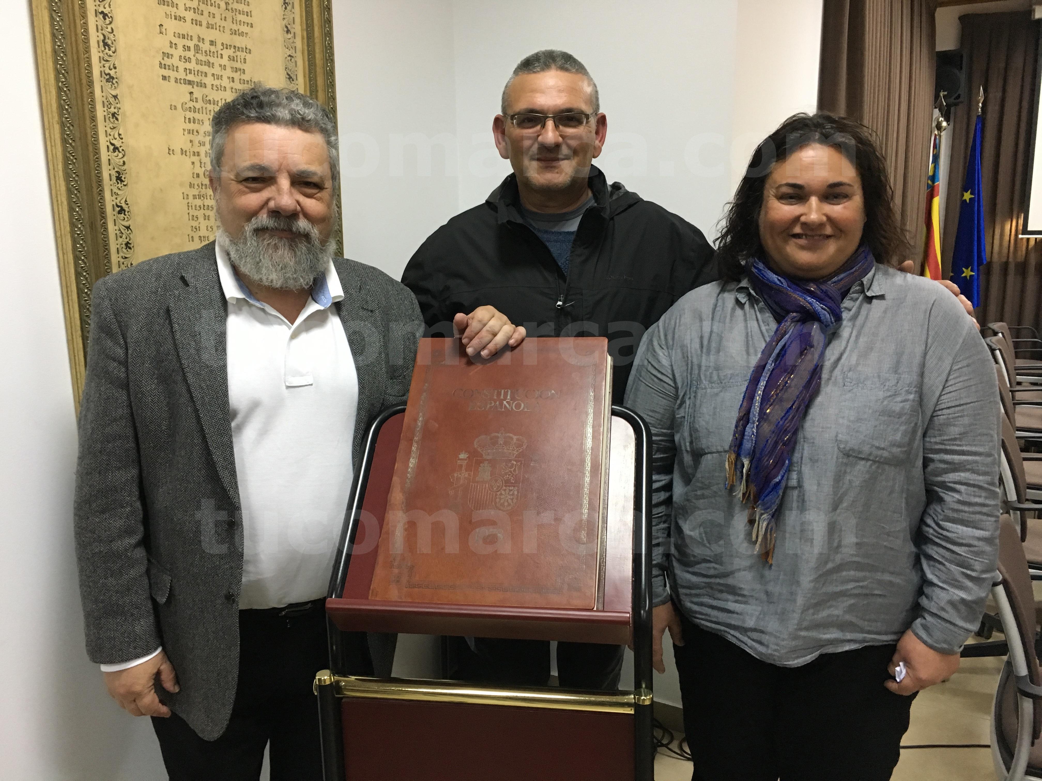 Los concejales de EU-PUG de Godelleta Pablo Rodríguez, José María García y Paqui González.