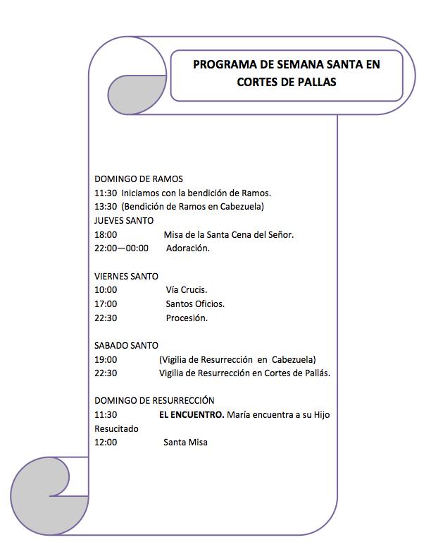 Programa completo de Semana Santa en Cortes de Pallás.