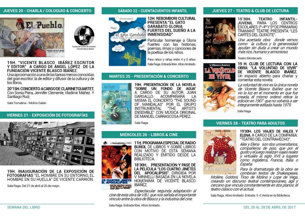 Actos programados en la semana del libro de Buñol.