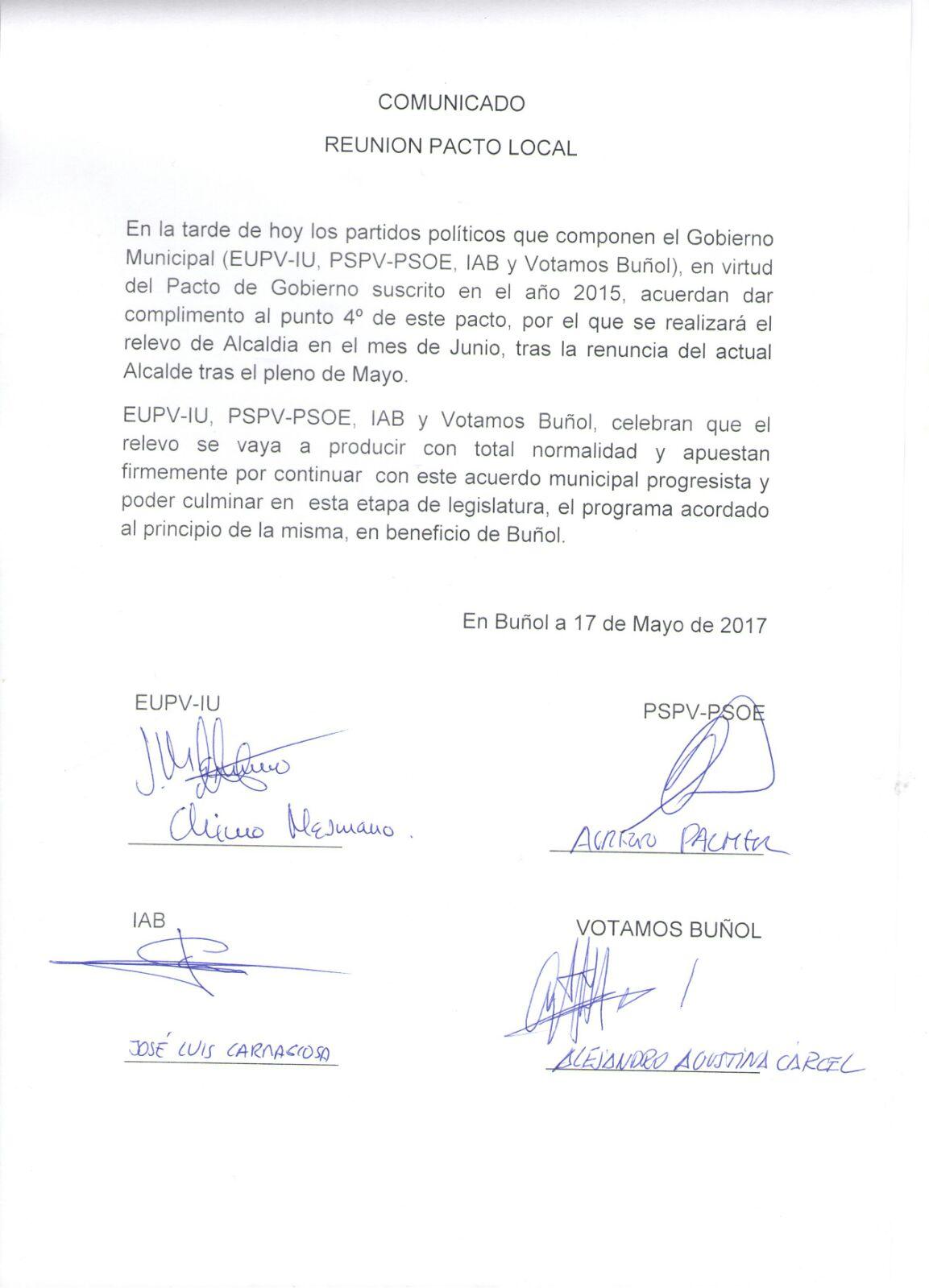 Documento facilitado por los cuatro partidos políticos firmantes del acuerdo de gobierno en Buñol.