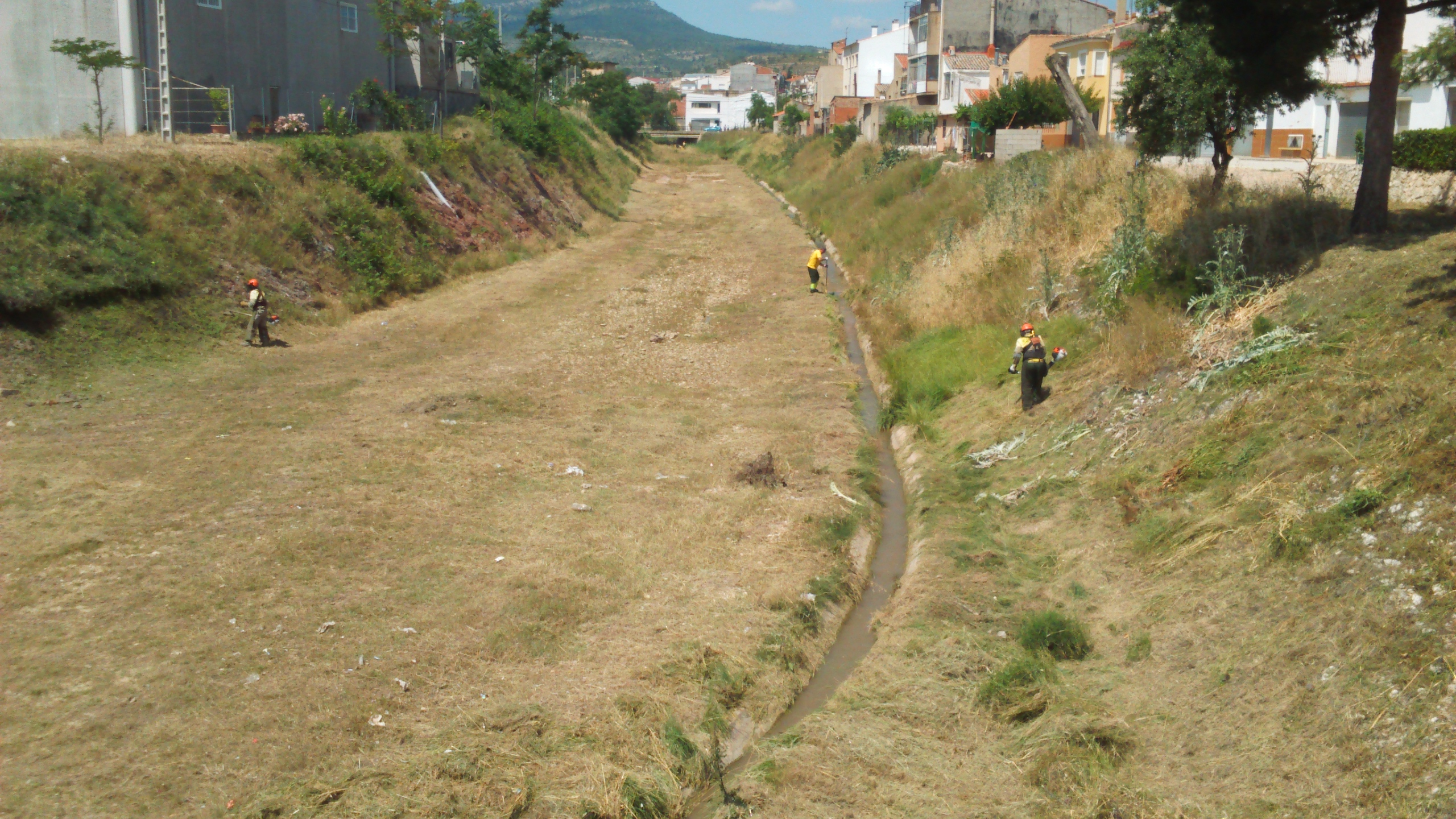 La actuación comprende la eliminación de vegetación invasora así como la capa de tierra vegetal con el fin de mejorar la capacidad de desagüe de las tuberías.
