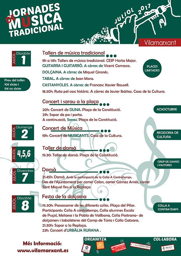 De l'1 al 8 de juliol, Vilamarxant celebra les primeres Jornades de Música Tradicional.