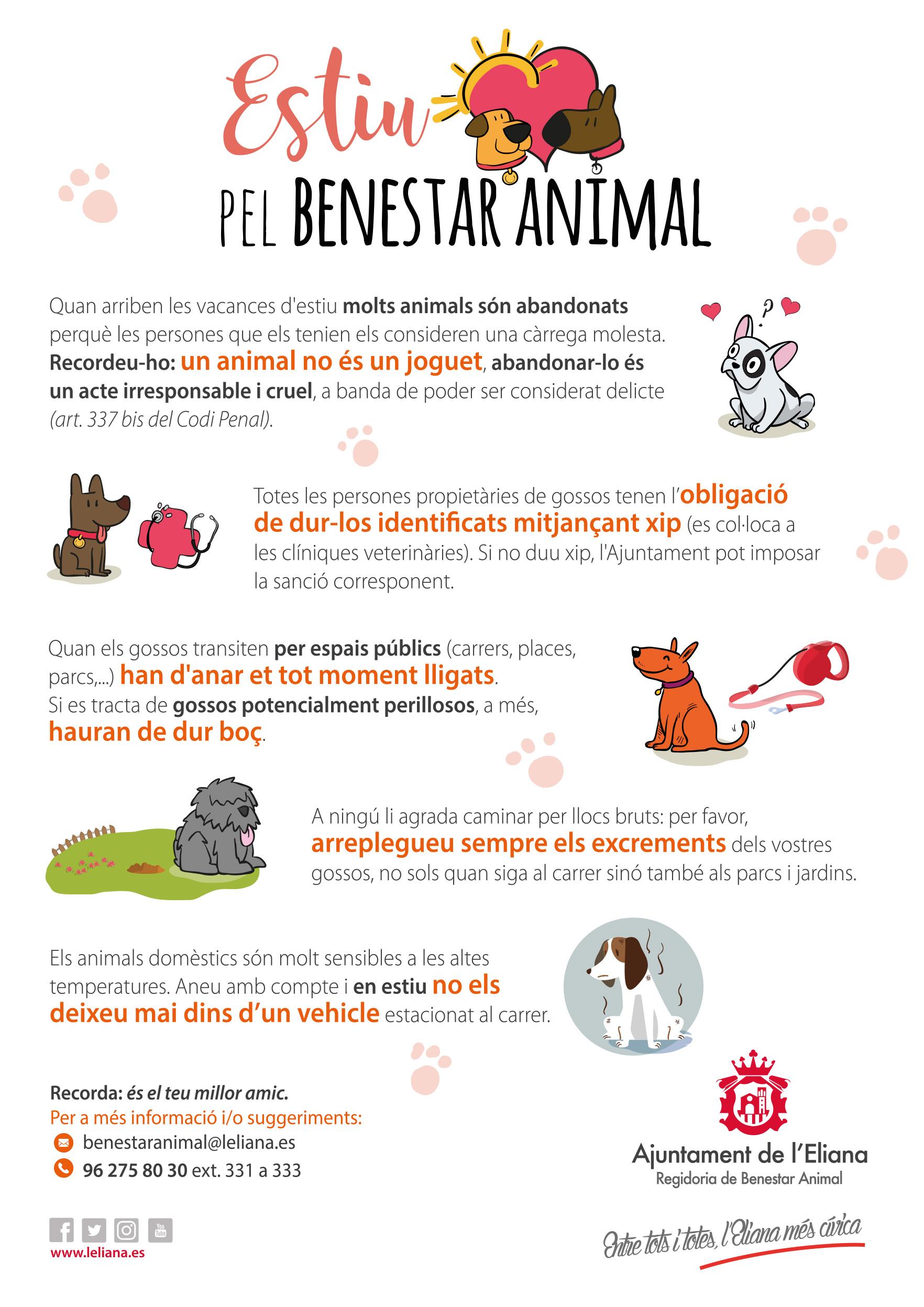 El área de Bienestar Animal del Ayuntamiento de l'Eliana ha impulsado la campaña 'Verano por el bienestar animal', con la que se desea informar y concienciar sobre la importancia de cumplir con unas normas que son básicas para quienes poseen mascotas.