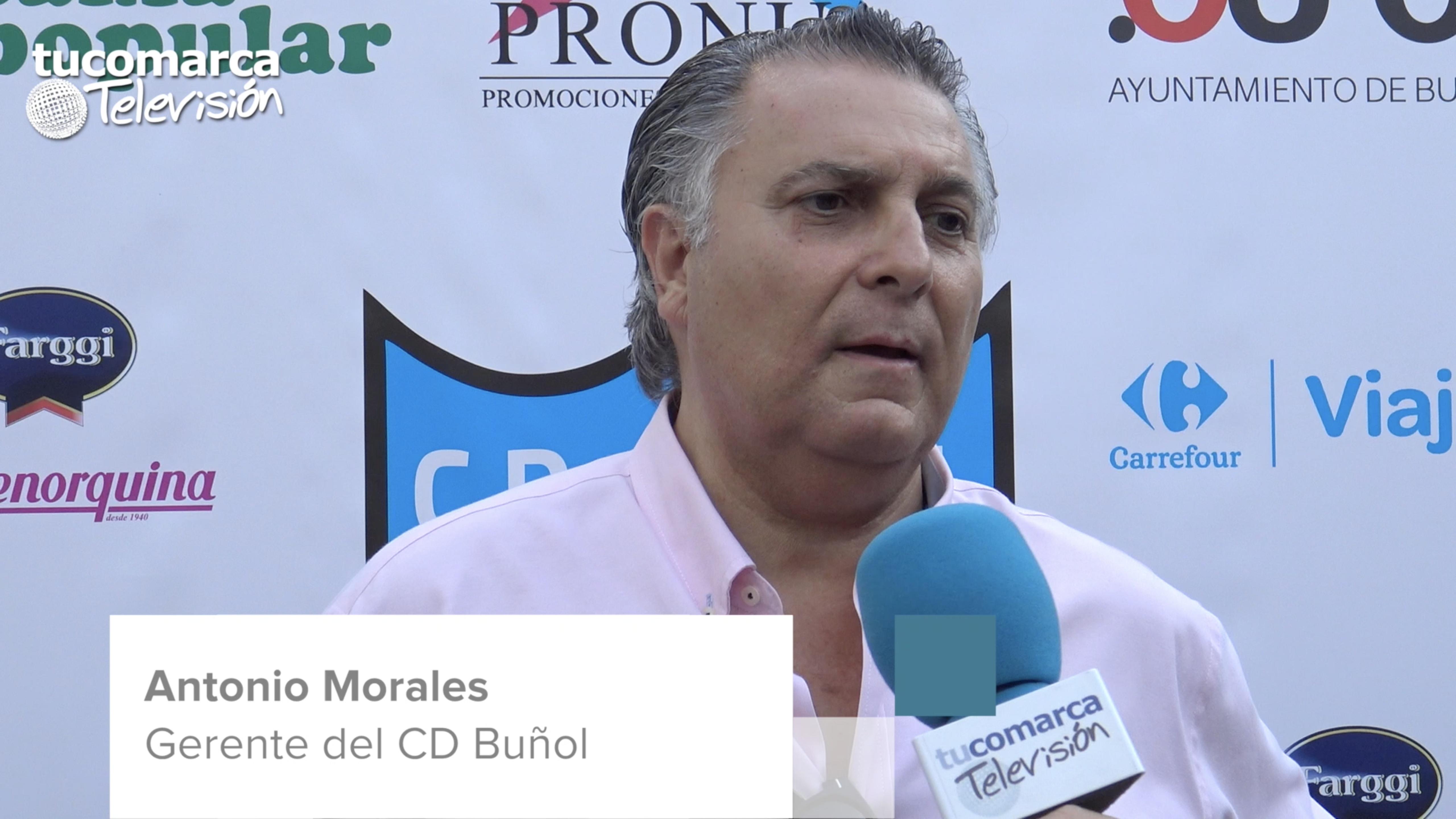 El nuevo gerente del Club Deportivo Buñol, Antonio Morales, durante la entrevista concedida a tucomarca televisión.