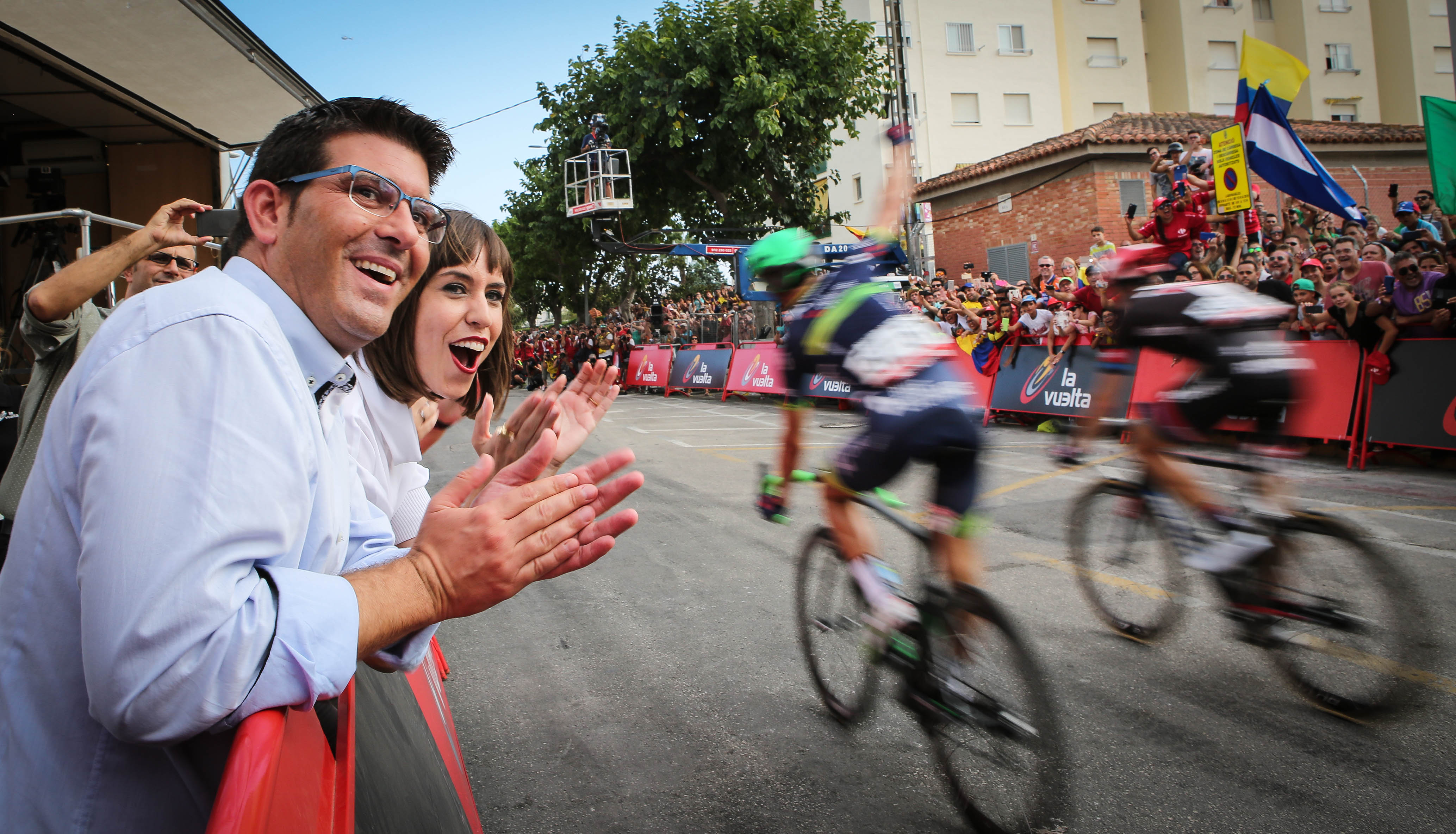 Jorge Rodríguez en la llegada de Gandía de la pasada edición de la Vuelta Ciclista a España.