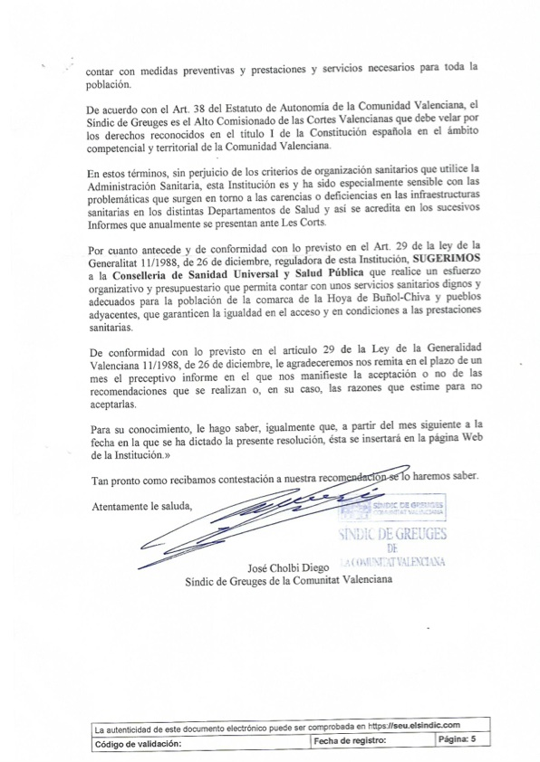 Parte final del escrito remitido por el Síndic de Greugues a la plataforma pro hospital comarcal.