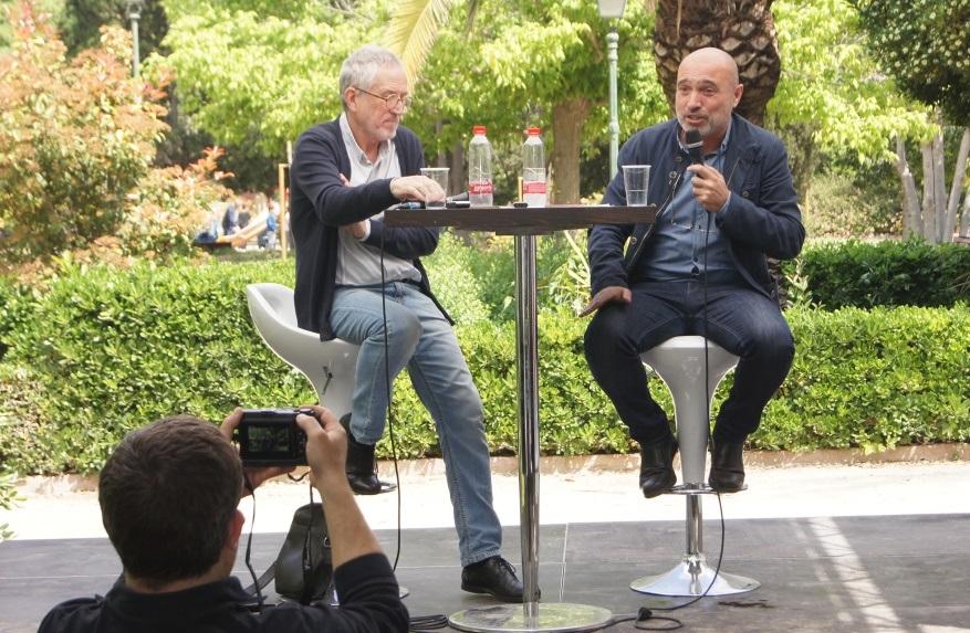 Xavier Rius i Jesús Figuerola durant la presentació del programa 'Ciutat Lectora' la passada Fira del Llibre.