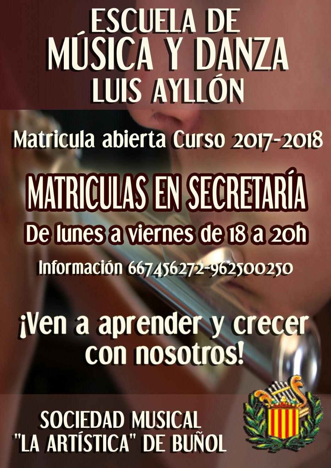 Cartel de la Escuela de Música Luis Ayllón de «La Artística» de Buñol.