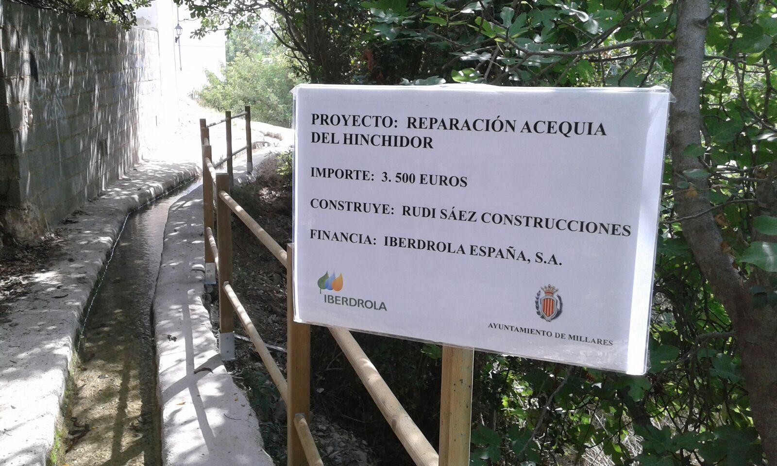 La inversión de los trabajos en la acequia asciende a 3.5000 euros.