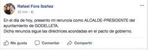 Anuncio de la dimisión como alcalde de Rafa Fora realizado por Facebook.