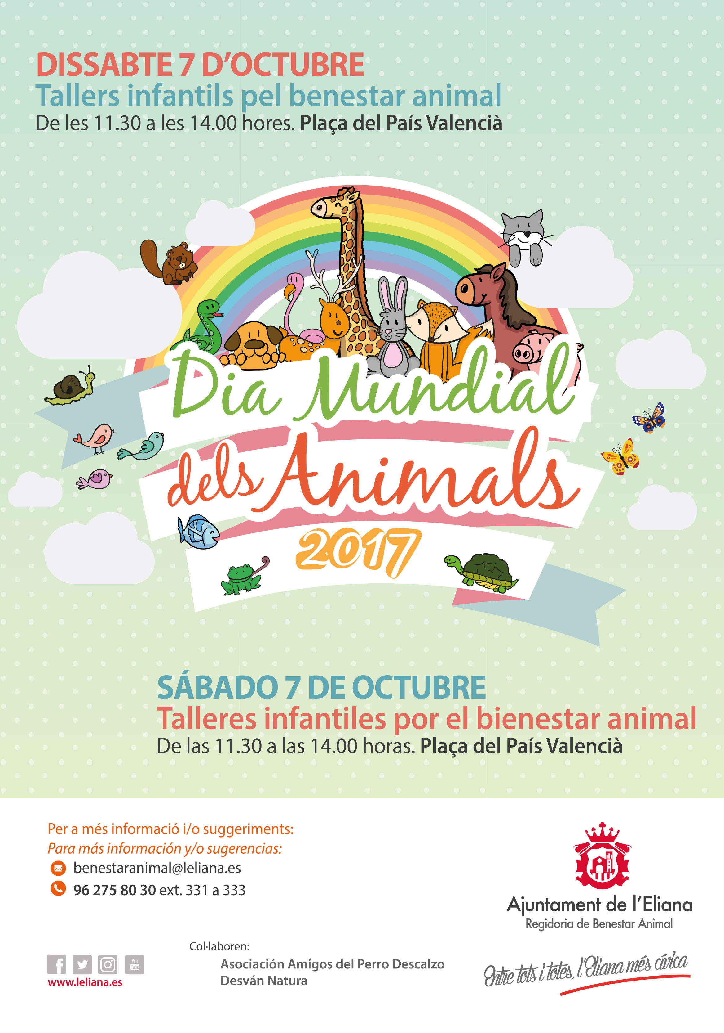 Des de l'Ajuntament de l'Eliana, al costat de la regidoria de Benestar Animal, es commemora en aquest dia la vida animal en totes les seues formes.