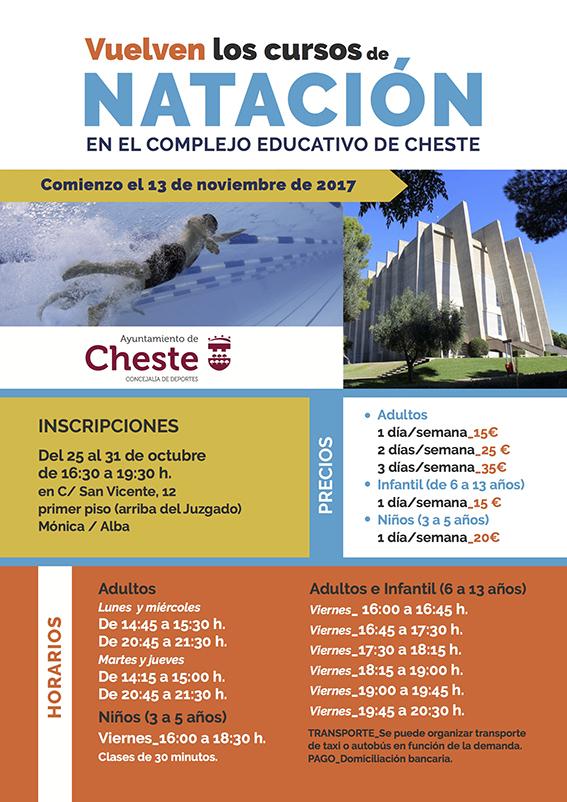 Cartel anunciador de los cursos de natación en #Cheste.