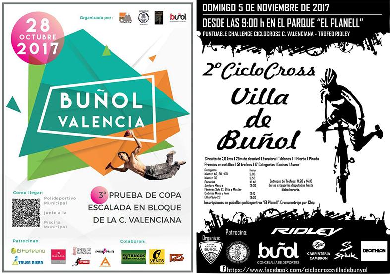 3ª Copa Escalada en Bloque de la Comunitat y 2º Ciclocross Villa de Buñol. También El Planell albergará un Torneo Interclubes de Tenis entre Buñol y Benaguacil.