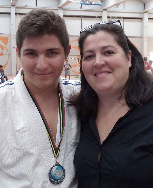 Maxi López junto a Mamen su entrenadora de Judo.