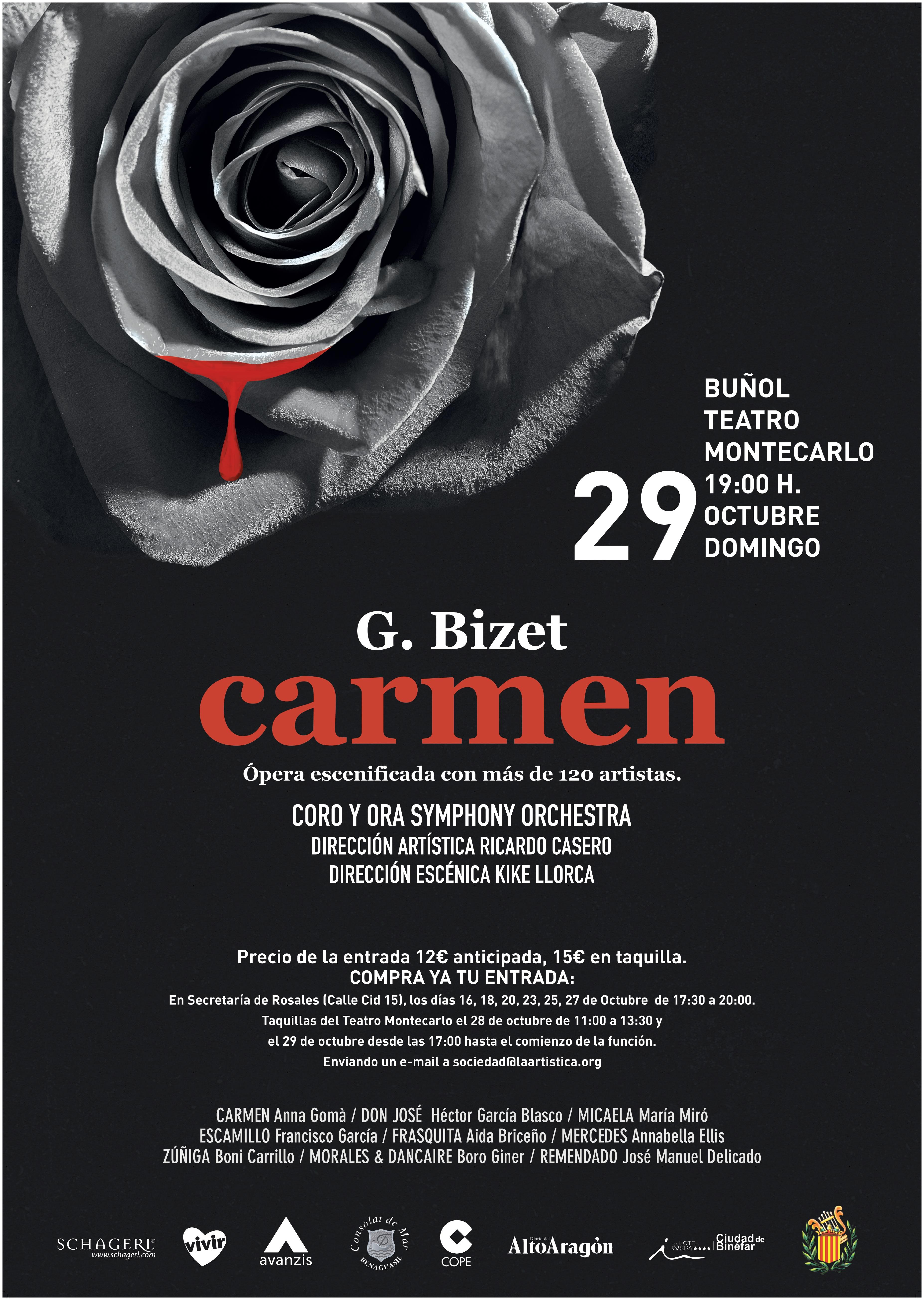 La famosa obra de Bizet se presenta en el Teatro Montecarlo de Buñol el 29 de octubre a las 19,00 horas.