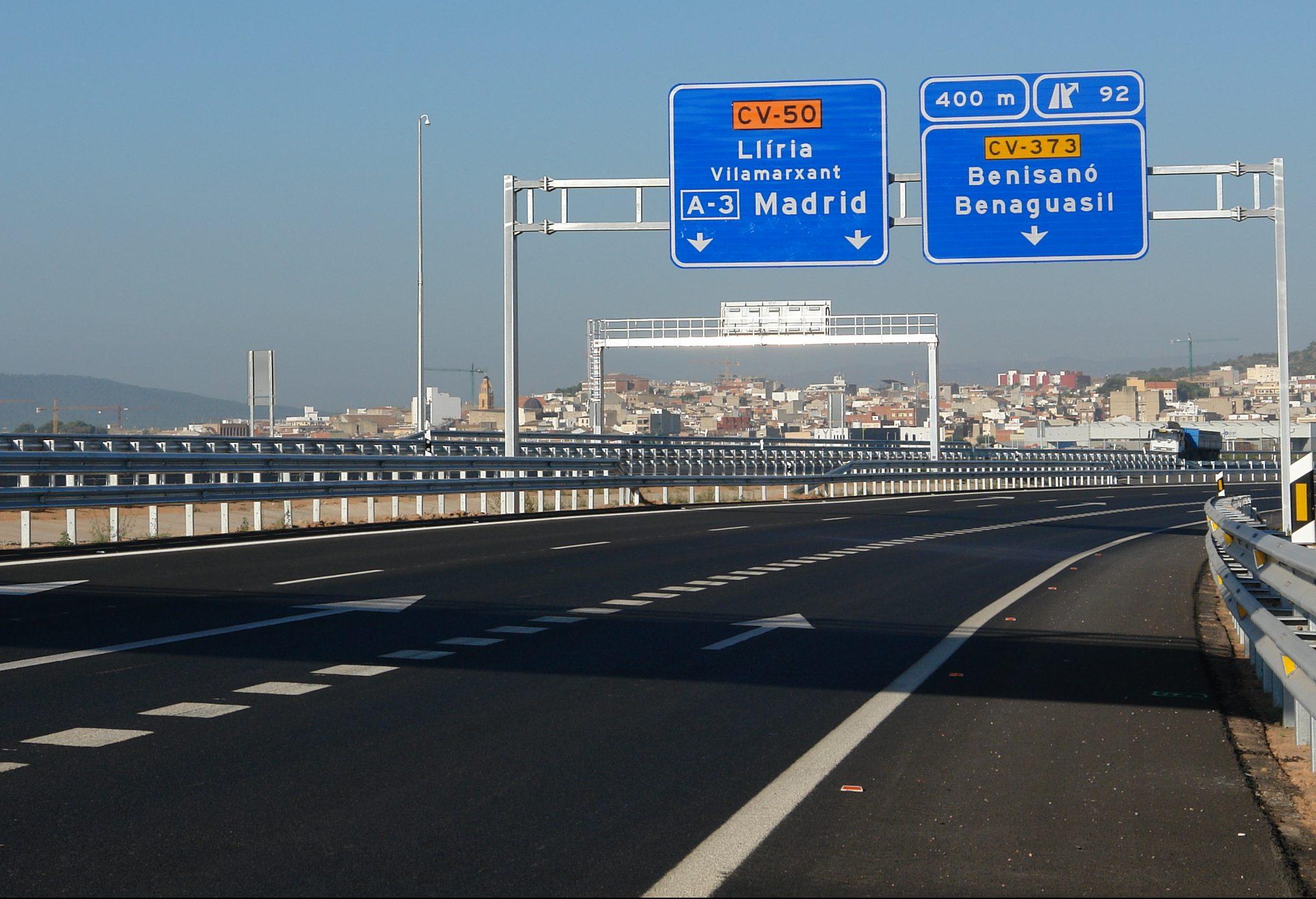 Una imagen de la carretera CV-50.