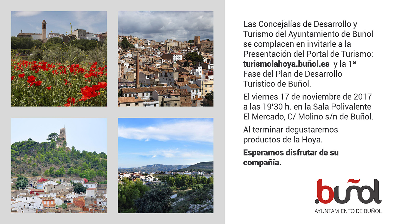 El Ayuntamiento de Buñol presenta este viernes un nuevo portal de turismo en el que se puede encontrar la amplia oferta de alojamientos, actividades y restaurantes de esta localidad, Alborache, Macastre y Yátova.