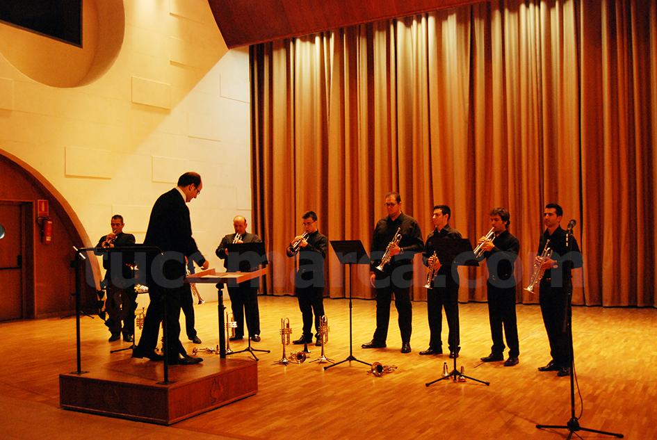 Los miembros de Trompettissimo en recital del Palacio de la Música en Buñol.
