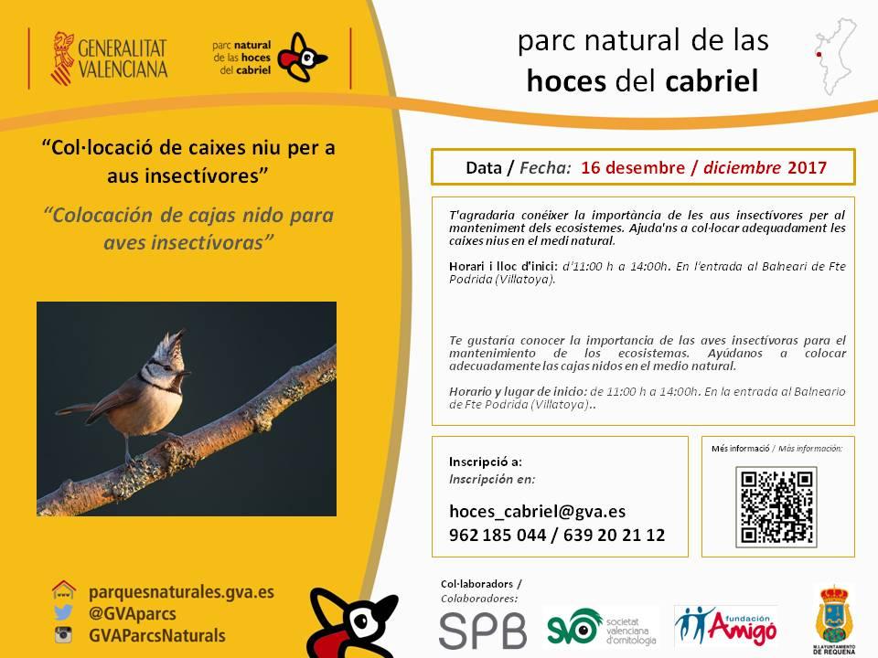 El Parque Natural de las Hoces del Cabriel ha preparado para el próximo 16 de diciembre 2017 unas jornadas sobre colocación de cajas nido.
