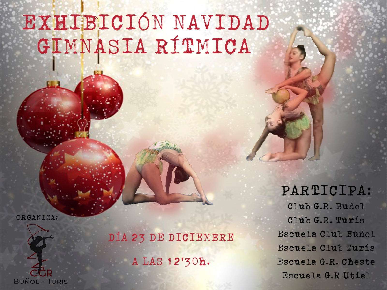 Cartel de las exhibiciones del club de gimnasia rítmica.