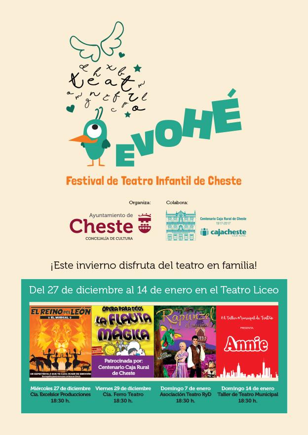 Evohé, el Festival de Teatro Infantil de Cheste, una propuesta de la concejalía de Cultura del Ayuntamiento para acercar las artes escénicas a los más pequeños.