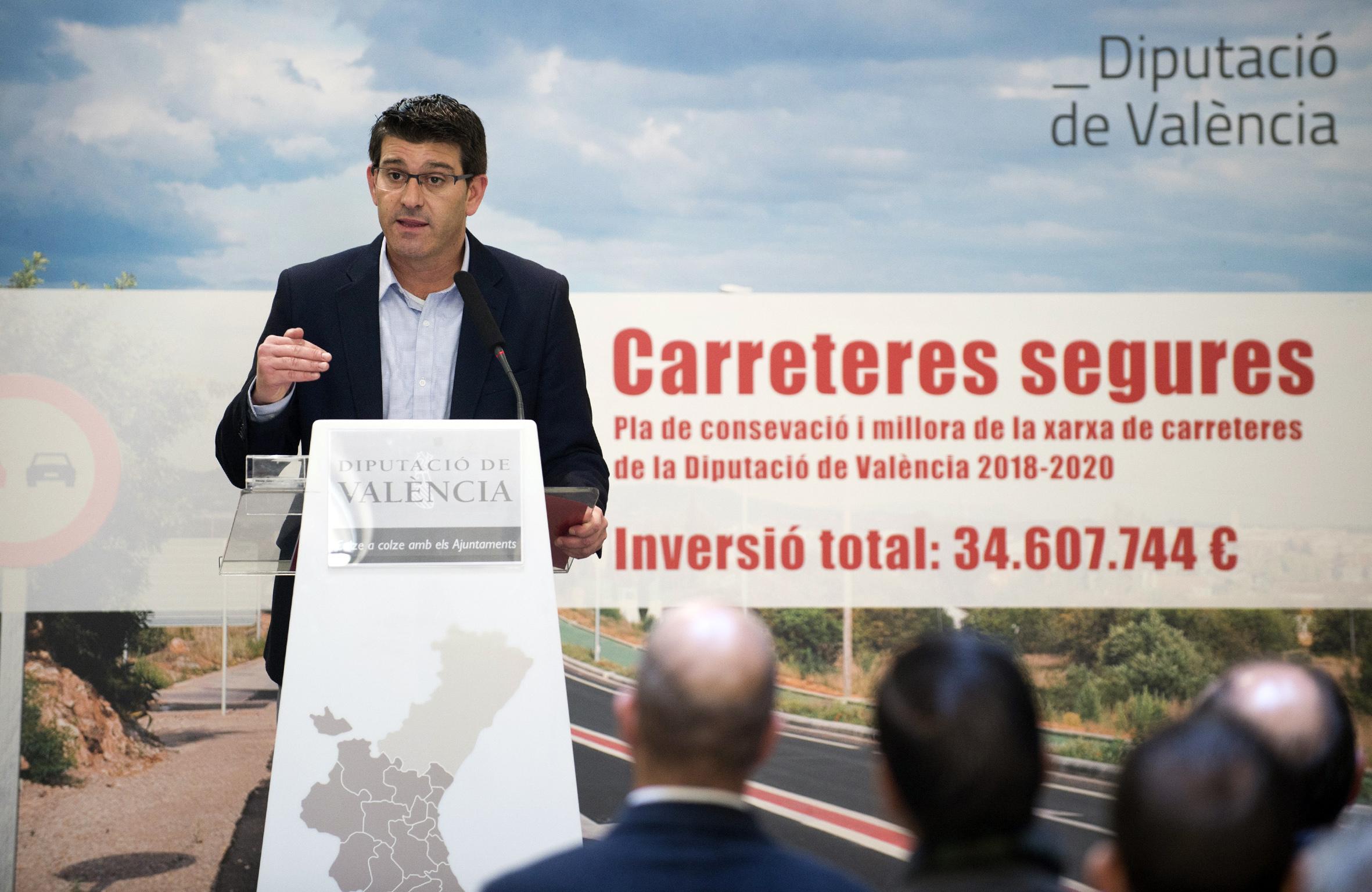 El presidente de la Diputació de València, Jorge Rodríguez durante la presentación.
