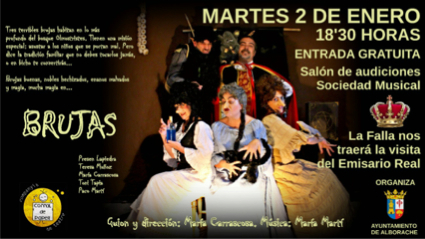 Cartel de la fiesta teatral mágica, Brujas, con representación, música y juegos, en el Salón de la Sociedad Musical.