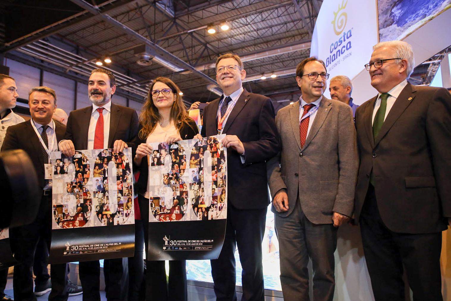El President, Ximo Puig, junto a la Vicepresidenta del Consell, Mónica Oltra, en Fitur.