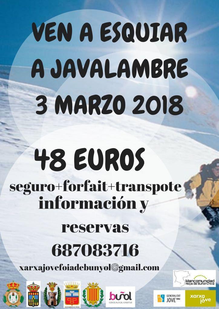 La Concejalía de Juventud del Ayuntamiento de Buñol organiza un viaje a Javalambre el próximo 4 de marzo.