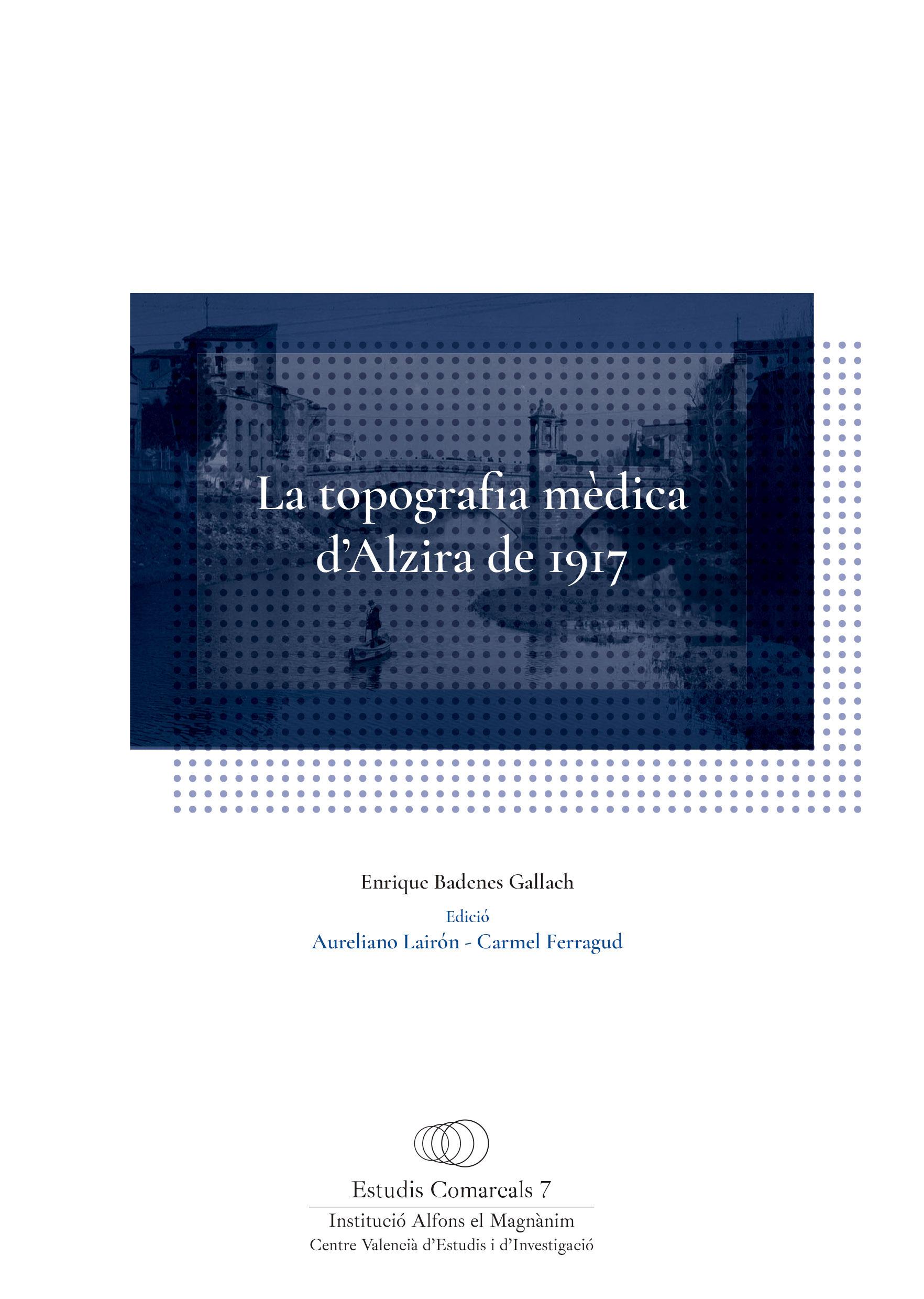 Portada del libro «La topografia mèdica d'Alzira de 1917», de Enrique Badenes.