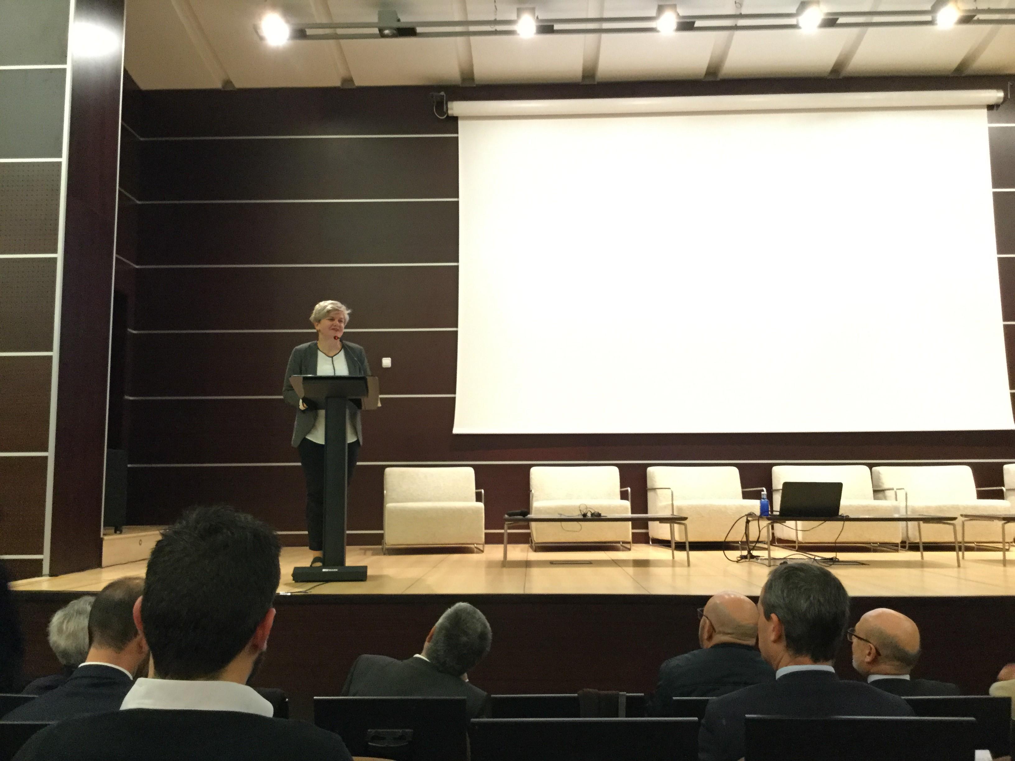 La diputada PIlar Moncho durante su intervención en Feria Valencia.