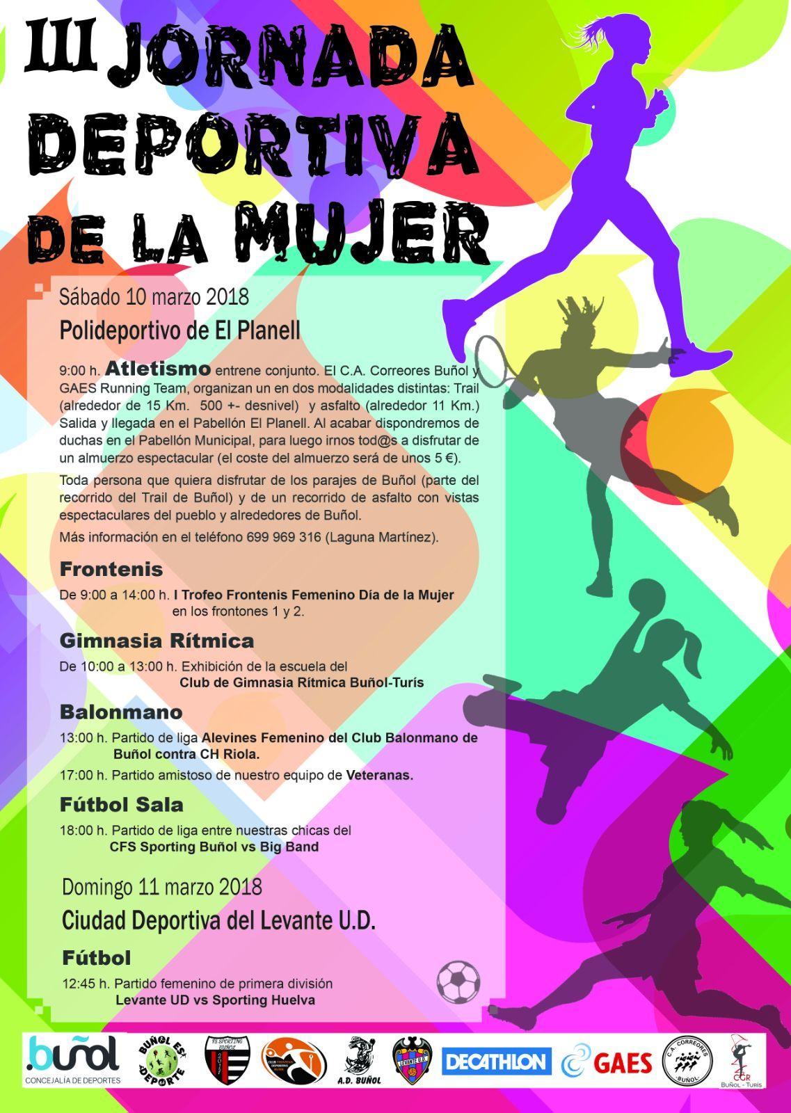 Cartel de las jornadas deportivas organizadas en Buñol.