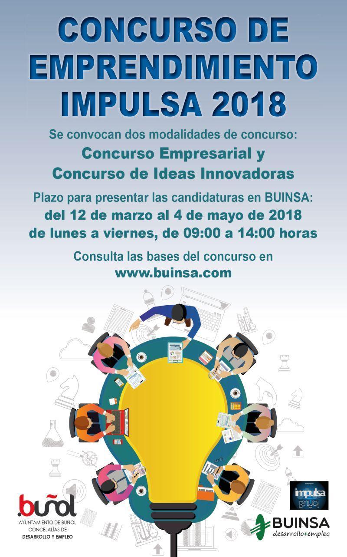 Estancia gratuita en el Vivero de Empresas durante un año y premios desde 2.500 euros para los ganadores son algunos de los atractivos de este Concurso de Emprendimiento Impulsa 2018.