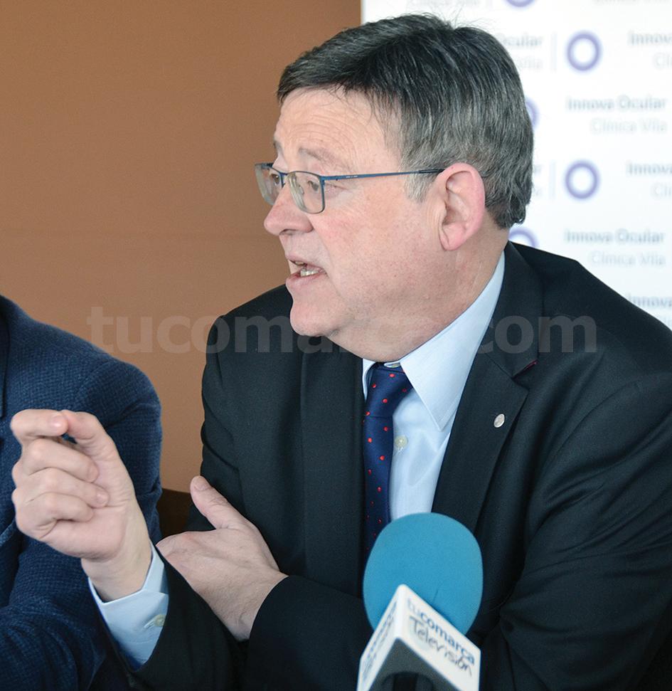 El President de la Generalitat durante el encuentro mantenido con la Asociación de la Prensa Comarcal Valenciana.