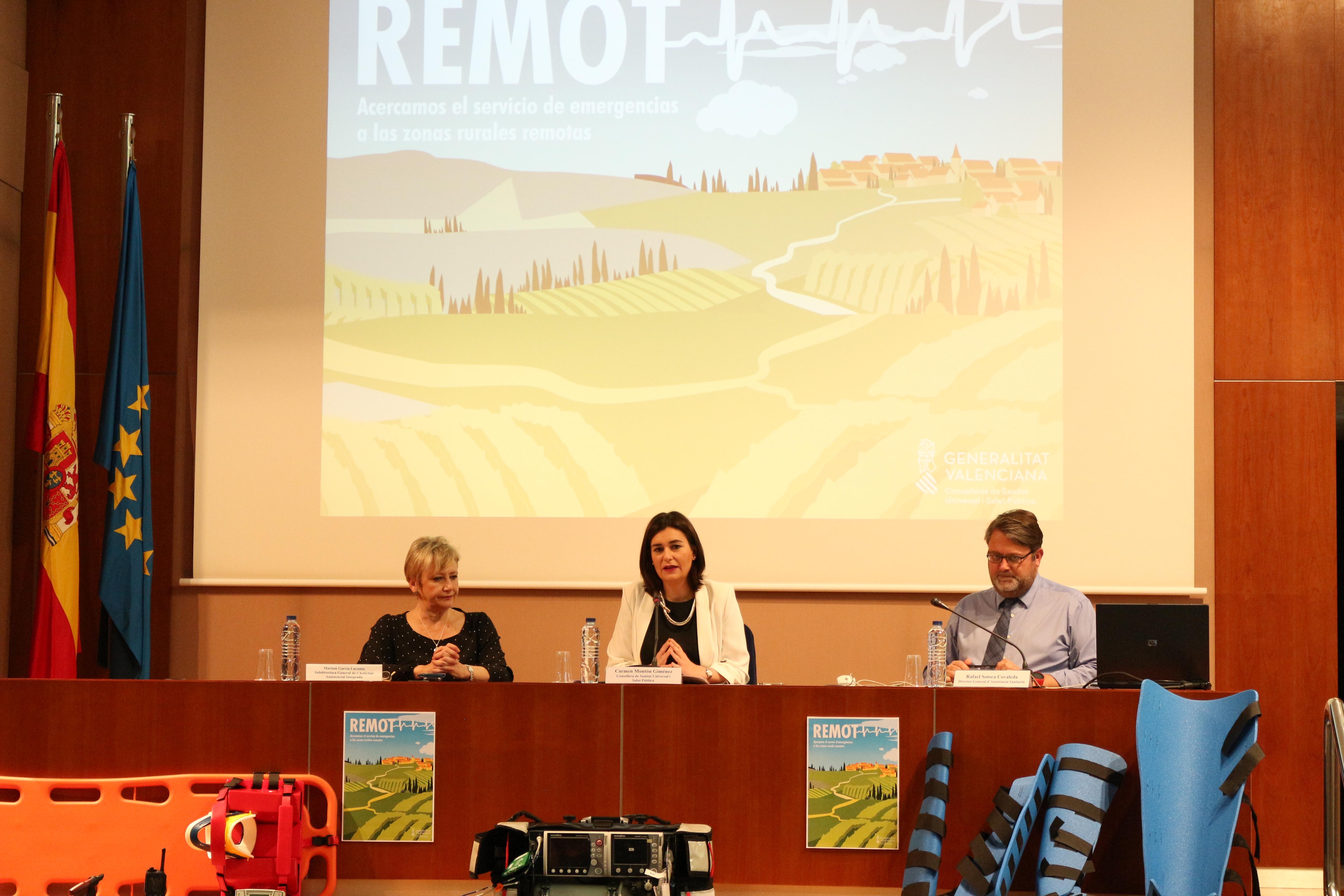 La consellera de Sanidad Universal y Salud Pública, Carmen Montón, ha presentado el Plan REMOT.
