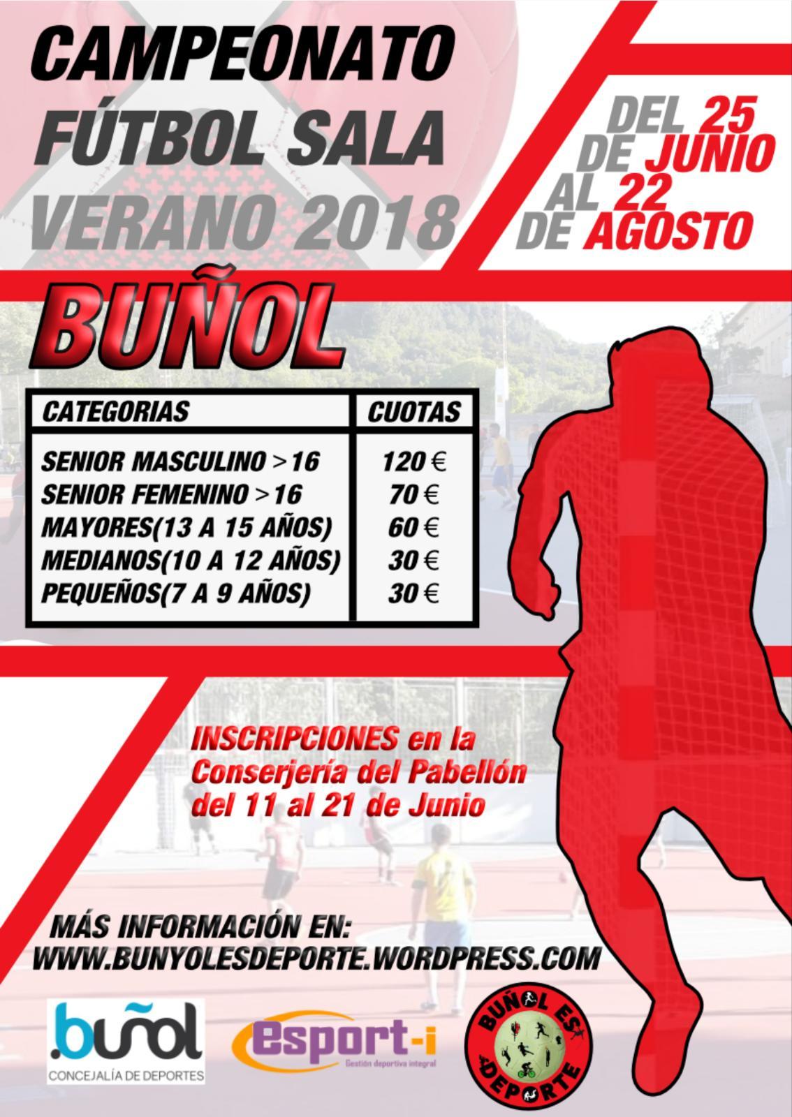 Cartel del campeonato de verano en Buñol.